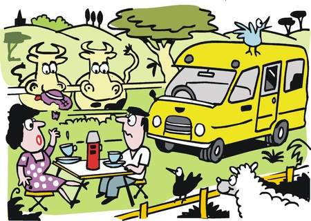 Vector cartoon of man and woman having picnic Stock Vector - 11285410