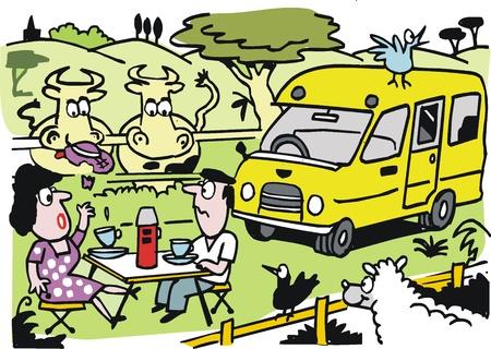 pareja comiendo: Vector de dibujos animados del hombre y una mujer con pic-nic Vectores