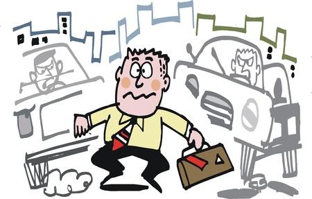 perilous: Vector cartoon of confused pedestrian crossing street