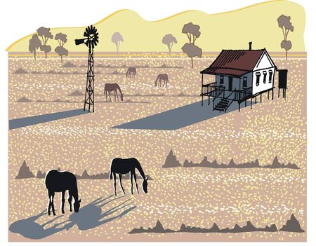 Vector illustration of horses in field at sunset. Vector