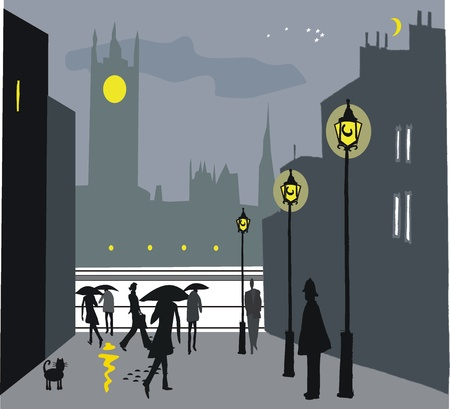 city of westminster: Vector illustration of London pedestrians in rain at night