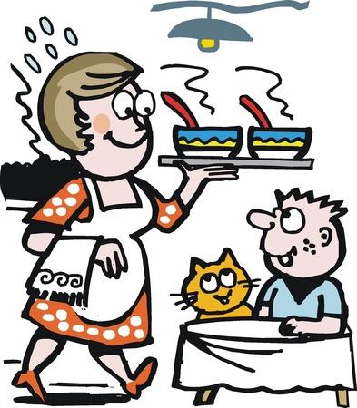 Vector cartoon of happy housewife serving soup Vector
