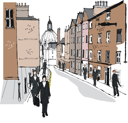 rendition: Vector illustration of old buildings in Eton, England Illustration
