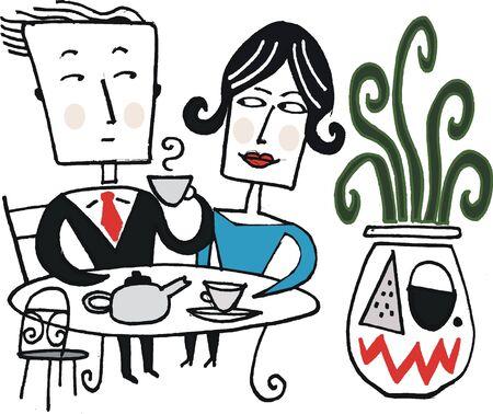 woman tie: Vector cartoon of man and woman drinking tea