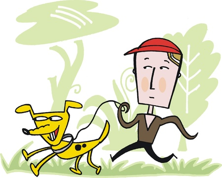 Vector cartoon of man taking dog for walk Vector