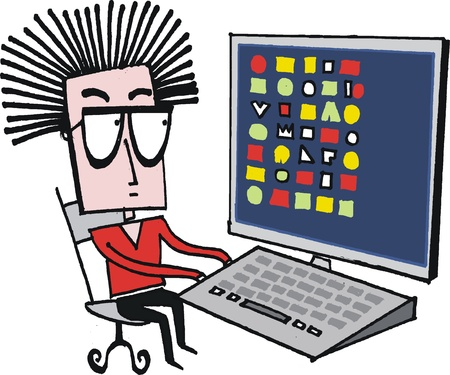 pc icon: Vector cartoon of man sitting at desktop computer Illustration