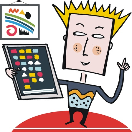 Vector cartoon of  boy with tablet computer Stock Vector - 11464852