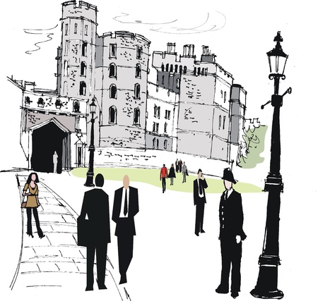 turret: Vector illustration of pedestrians near Windsor castle, England