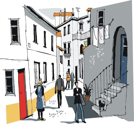 Vector illustration of old Portuguese village Vector