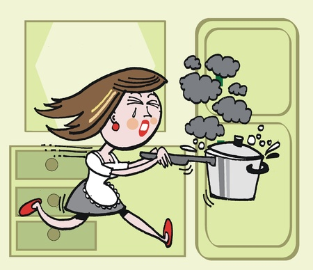 Vector cartoon of housewife with burning saucepan Vector