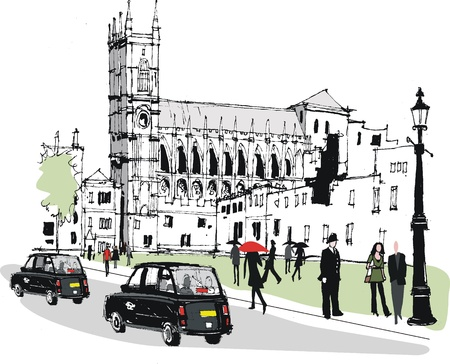 city of westminster: Vector illustration of historic Westminster Abbey London Illustration