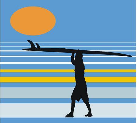 surfer vector: Vector illustration of surfer with board  Illustration