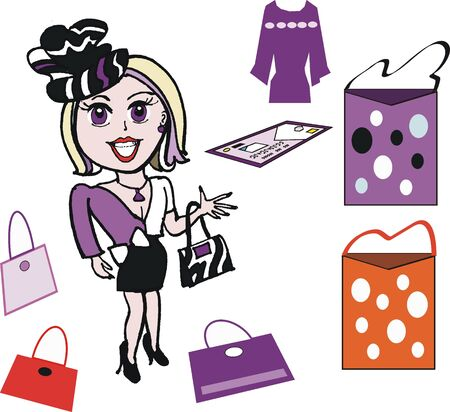 woman credit card: Vector cartoon of stylish woman with shopping
