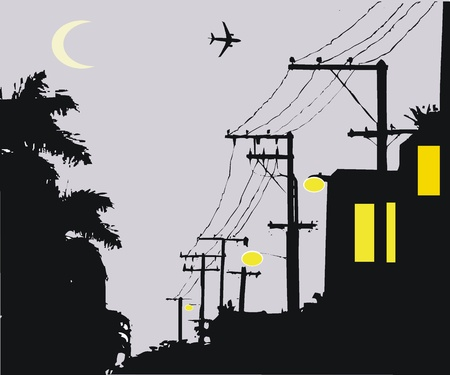 telephone pole: Vector illustration of night street scene with plane