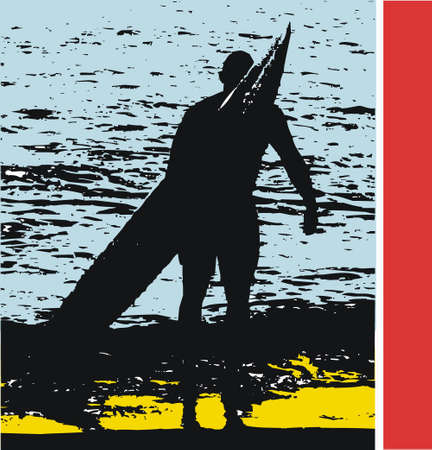 surfer vector: Vector illustration of surfer with board on beach