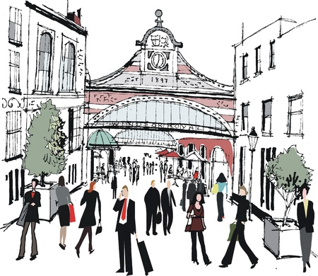 Vector illustration of Windsor railway station, England Illustration
