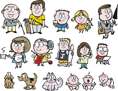 Vector cartoon of happy family group with grandparents, mother, father, and children Illustration