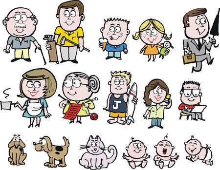teen golf: Vector de dibujos animados del grupo de familia feliz con sus abuelos, madre, padre, y los ni�os