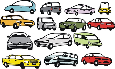 variety: Vector group of hand drawn cartoon automobiles Illustration