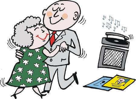 cartoon of mature age couple dancing.  Illustration