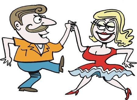 mujer feliz fondo blanco: historieta del rock-and-roll pareja de baile Vectores