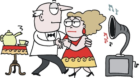 socializing: cartoon of elderly couple dancing to gramaphone