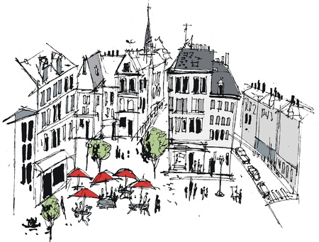 street cafe: Vector illustration of French provincial town, Boulogne Illustration