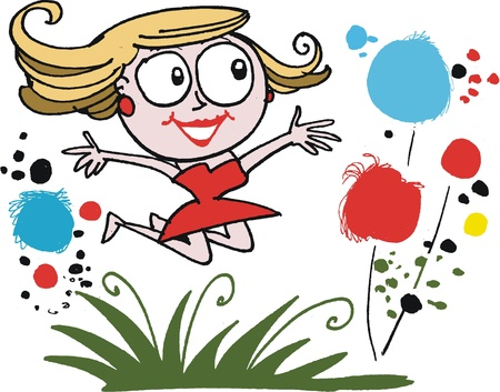 joyful: Vector cartoon of happy woman leaping for joy