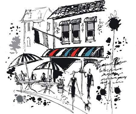 Vector illustration of French cafe scene