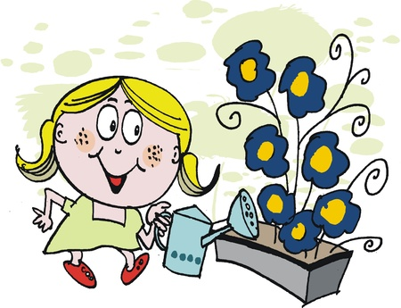 watering garden: Vector cartoon of young girl watering flowers