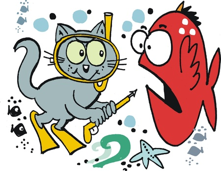 skin diving: Vector cartoon of skin diving cat with harpoon Illustration