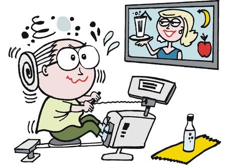 perspiring: Vector cartoon of elderly woman exercising in gym