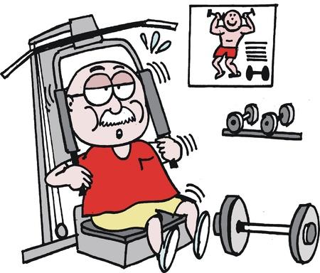 sudando: Vector de dibujos animados de hombre de edad trabajando en el gimnasio