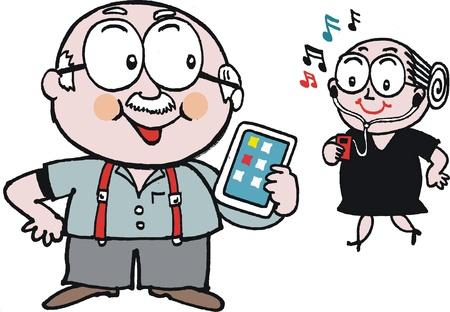 Vector cartoon of mature age couple with hi-tech gadgets Vector