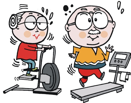 sweating: Vector cartoon of elderly couple working out in gym