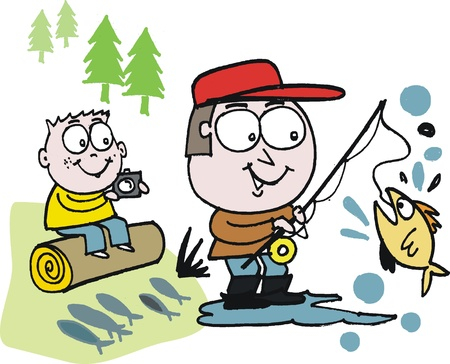 Vector cartoon of man and boy fishing outdoors