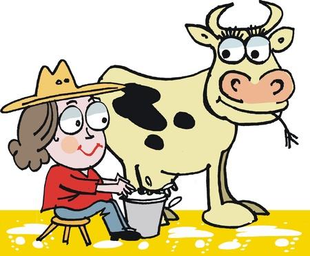 Vector cartoon of woman milking cow Vector