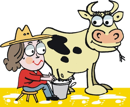 humorous: Vector cartoon of woman milking cow Illustration