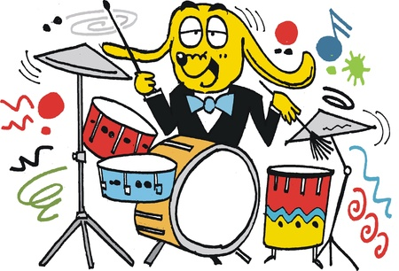 Vector cartoon of happy dog playing drums Vector