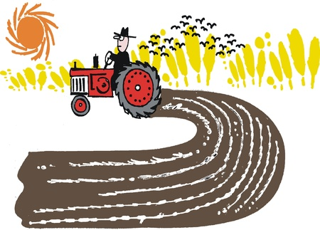 man in field: Vector cartoon of farmer on tractor