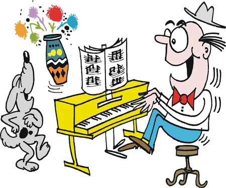 Vector cartoon of man playing piano with dog singing