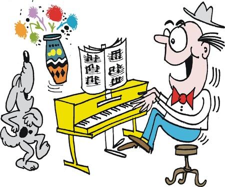 pianista: Vector de dibujos animados de piano hombre que juega con el canto del perro Vectores
