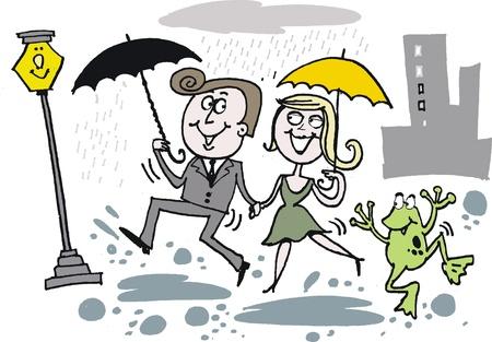 Men and women in the rain: Vector hoạt hình của hạnh phúc vợ chồng ca hát trong mưa Hình minh hoạ