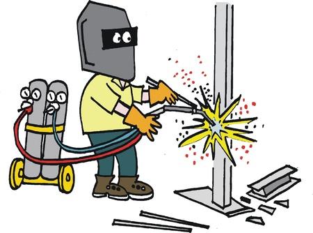 blue collar: Vector cartoon of man welding