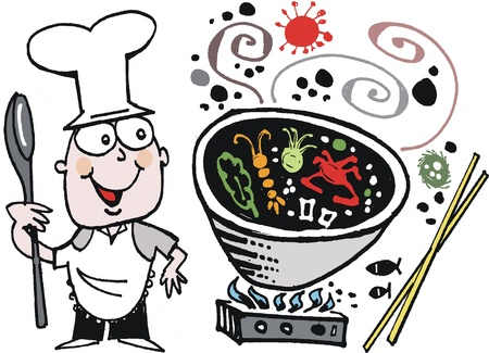 stove: Vector cartoon of happy chef cooking with wok