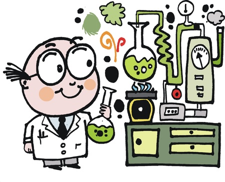 invention: Vector cartoon of nutty professor in laboratory