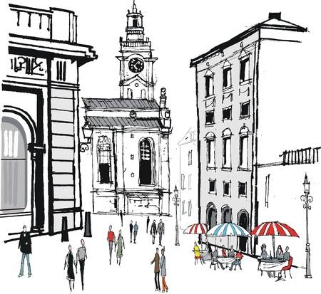 woman eat: Ilustraci�n vectorial de edificios antiguos en Estocolmo, Suecia