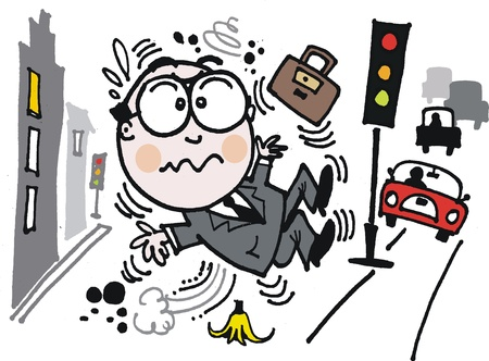 banana peel: Vector cartoon of man slipping on banana peel