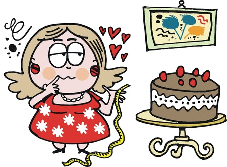 diet cartoon: Vector cartoon of fat woman with chocolate cake Illustration