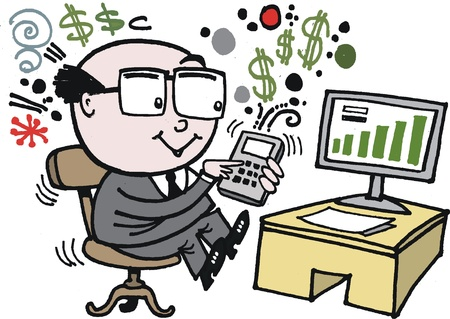 calculator money: cartoon of man using calculator Illustration